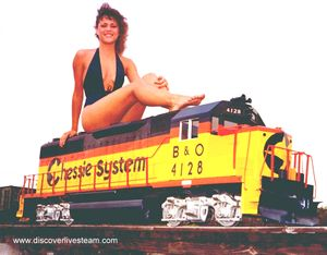 This Was Taken Way Back In 1976, That Is Kim Kull, Posing On A Kosteru0027s  Miniature Railroad Supply GP 40 Diesel On The Trestle In Bill Kosteru0027s  Backyard.